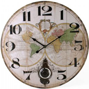 World Map Globe 32823 - Extra Large Rustic Retro Kitchen Wall Pendulum Clock 58cm